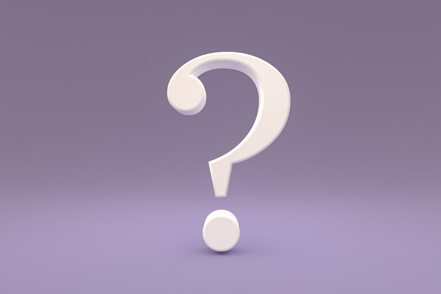 White question mark sign minimal on purple background, 3d render, minimal and copy space