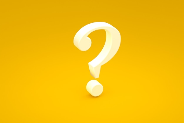 White question mark sign minimal on yellow background, 3d render, minimal and copy space