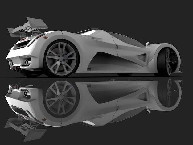 White racing concept car. image of a car. 3d rendering.