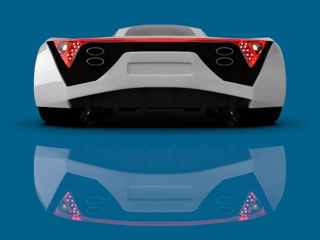 화이트 레이싱 컨셉카. 파란색 광택 배경에 자동차의 이미지입니다. 3d 렌더링.