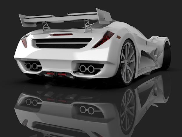 화이트 레이싱 컨셉카. 회색 광택 배경에 자동차의 이미지입니다. 3d 렌더링.