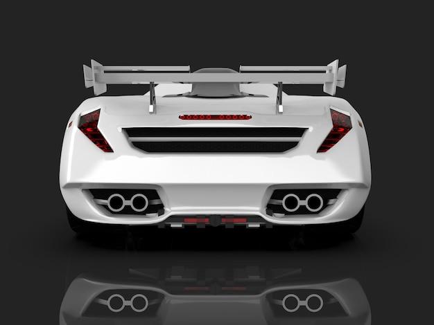 Белый гоночный концепт-кар. изображение автомобиля на сером глянцевом фоне. 3d-рендеринг.