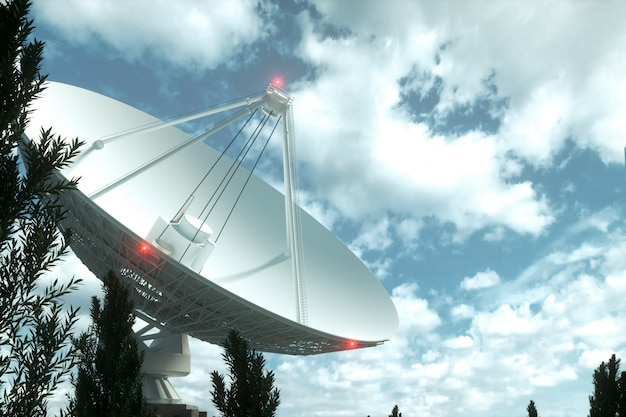 White radio telescope, a large satellite dish on a wall of blue sky, radar. technology concept, search for extraterrestrial life, wiretap of space. mixed medium, copy space.