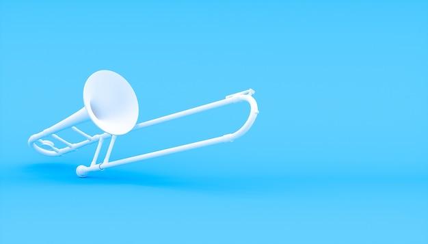Белый рамбон на синем фоне, 3d иллюстрация
