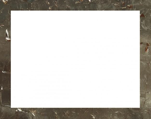 White rectangular frame on gold background.