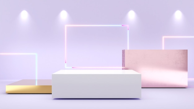 白い長方形のスタンド紫色のバックネオンライトモックアップ表彰台に製品プレゼンテーション用