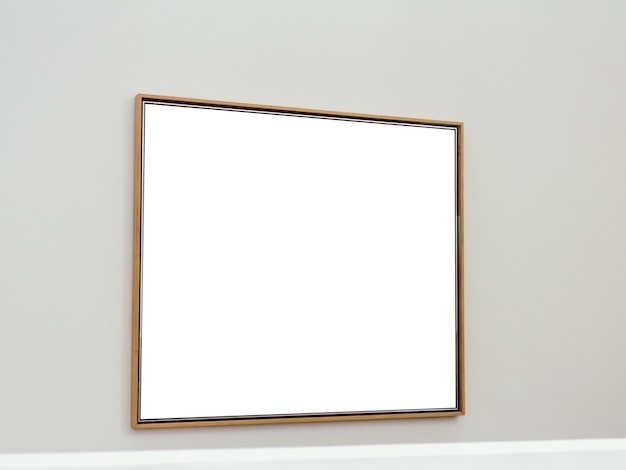 White rectangular surface with brown frames attached to a wall