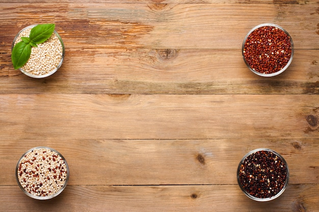 White, red, black and mixed raw quinoa grain