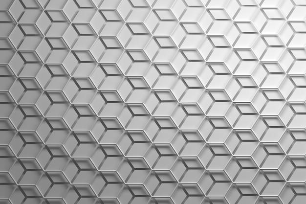 육각형 와이어와 분리 된 육각형이있는 흰색 반복 패턴