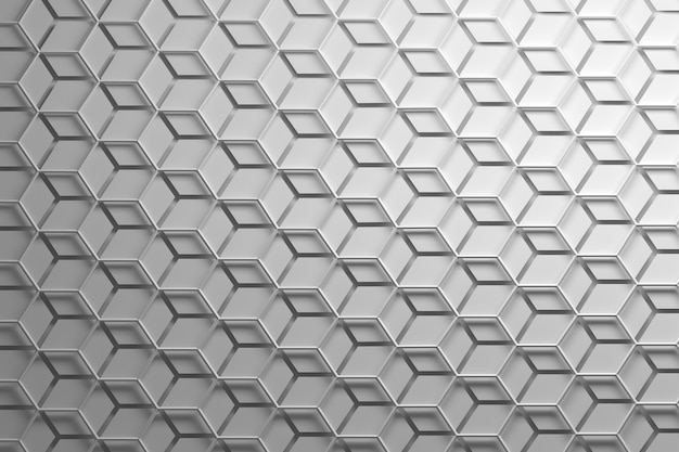 White repeating pattern with hexagonal wirefrmae and separated hexagons