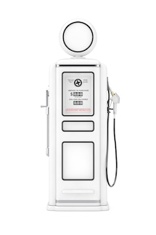 흰색 바탕에 클레이 스타일의 흰색 복고풍 가스 펌프. 3d 렌더링