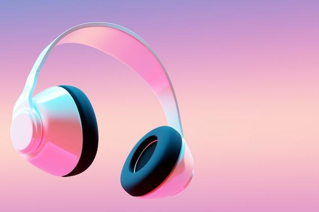 핑크에 화이트 레트로 헤드폰