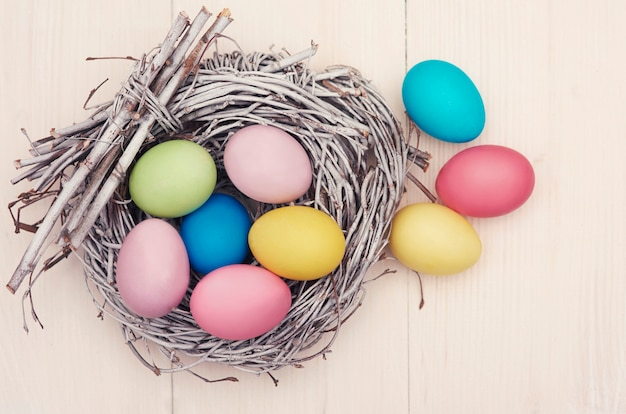 White retro plank and easter eggs