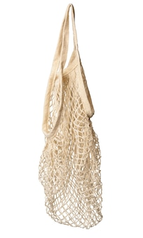 White  reusable string bag woven from thread isolated on white surface, zero waste