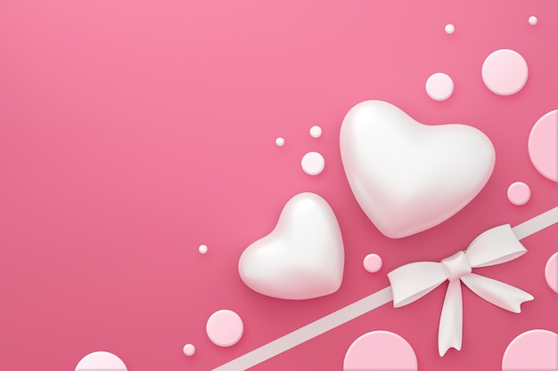 White ribbon on pink gift box background with happy valentine festival or polka dots pattern concept. 3d rendering.