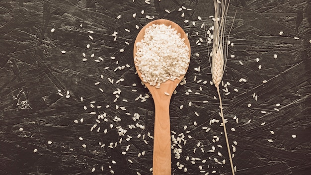 White rice grains on wooden spoon over rough gray background