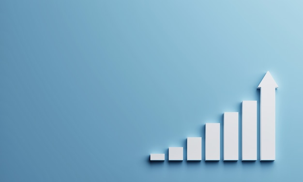 White rising bar chart on blue background with copy space. business economic and money investment concept. goal and success theme. 3d rendering  .