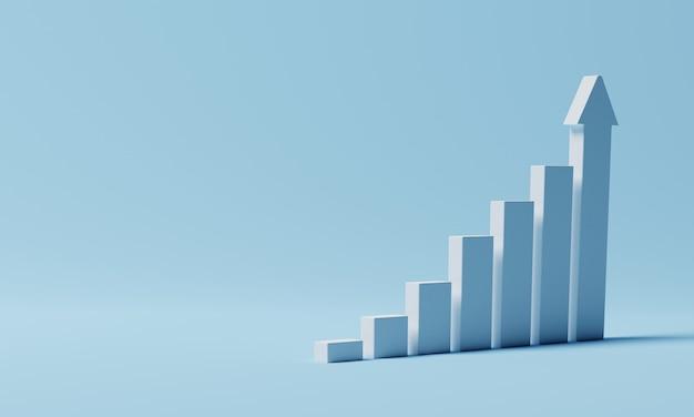 コピースペースと青い背景の上の白い上昇棒グラフ。ビジネス経済とお金の投資の概念。目標と成功のテーマ。 3dレンダリング。