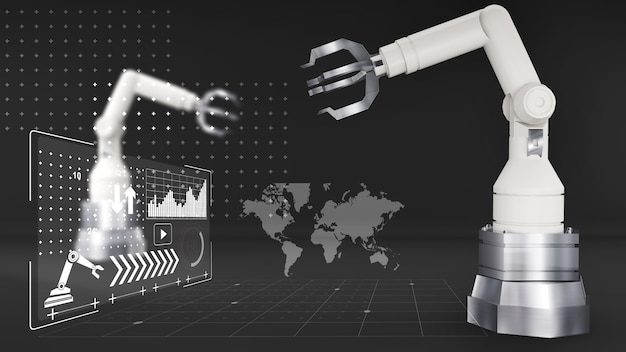 White robot arm with hologram technology on a black backgroundrobot arm technology