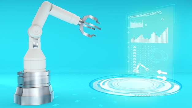 White robot arm with hologram technology on a blue backgroundrobot arm technology