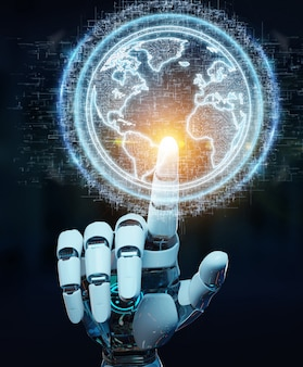 White robot hand using globe network hologram with america usa map 3d rendering