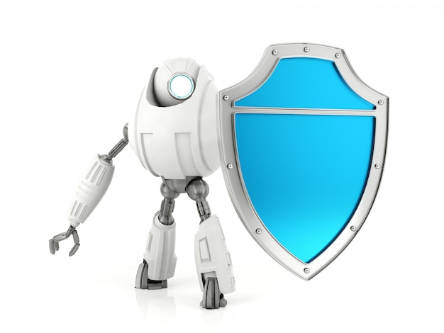 White robot holding blue shield, security concept, 3d rendering