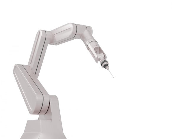 White robotic arms with blank space on white background, 3d rendering.