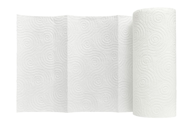 White roll of household paper towels isolated on white background close up