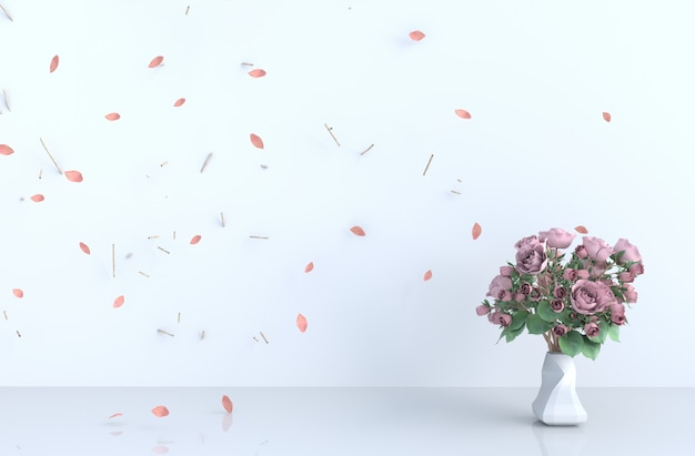 White room background decor with blow pink leaves