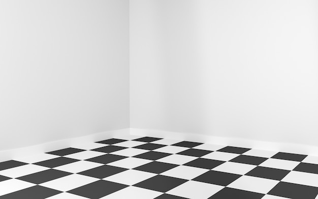 White room corner with floor checkerboard for mockup. 3d rendering.