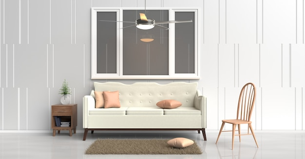 White room decor cream sofa, orange pillows, wood bedside table, ceiling fan, wood chair.