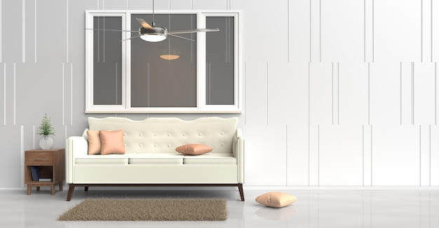 White room decor with cream sofa,orange pillows,wood bedside table,ceiling fan. 3d render.