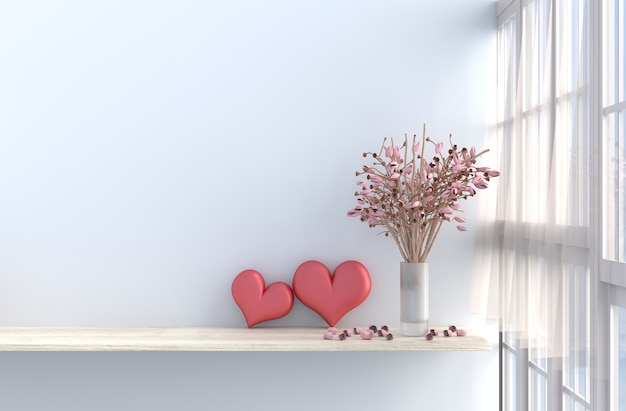 White room decor with two hearts ,white wall, window, pink rose, drape. 3d render. valenti