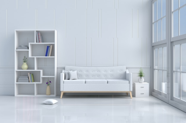 White room decor with white sofa,pillows,bookcase,vase,book,flower, cement wall. 3d render