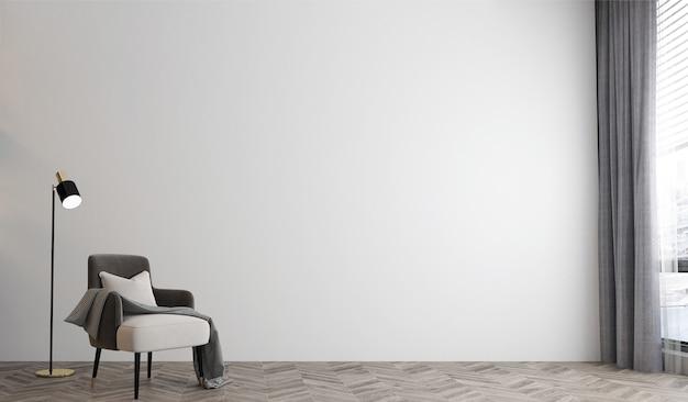 Интерьер белой комнаты, минимальный интерьер гостиной, пустая белая стена, 3d-рендеринг