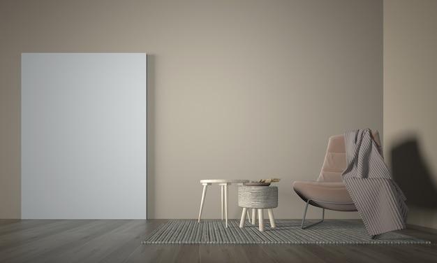 화이트 룸 인테리어, 최소한의 라운지 및 거실 인테리어, 빈 흰 벽, 3d 렌더링