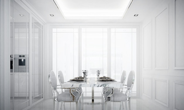 White room interior,modern luxury dining room interior , empty wood pattern wall, 3d rendering