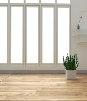 White room interior parquet wood floor. 3d rendering