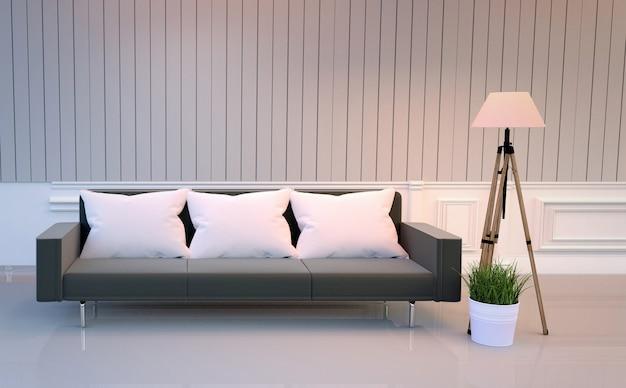 Белый интерьер комнаты - элегантный стиль номера - в номере есть черный диван-лампа и растения. 3d-рендер