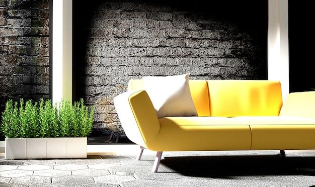 Белый интерьер комнаты с желтый диван, лампа и растения на пустой белый фон стены. 3d r