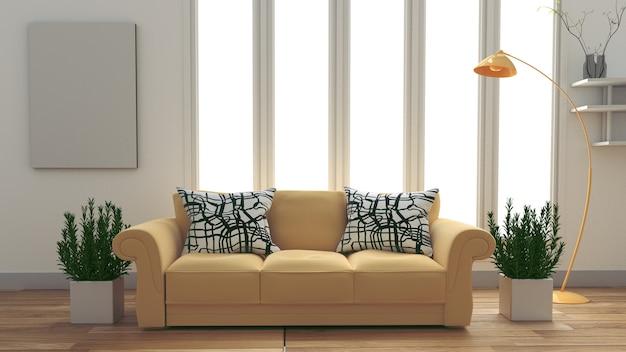 Белый интерьер комнаты с желтый диван, лампа и растения на пустой белый фон стены.
