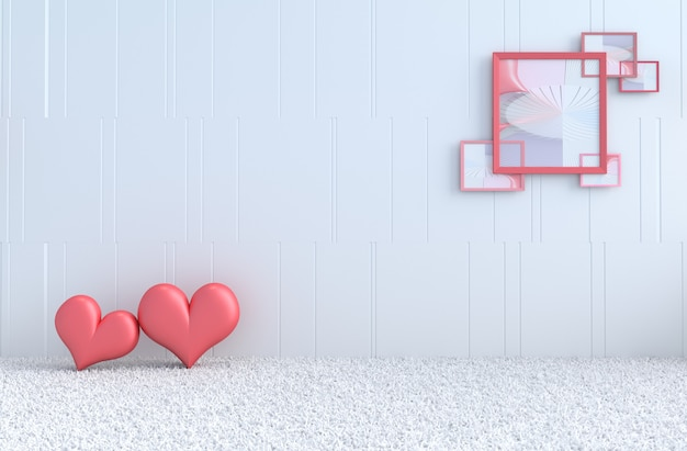 White room of love. with red heart, picture frame on valentine's day.
