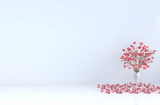 White room of love. with red heart, red rose on valentine's day.