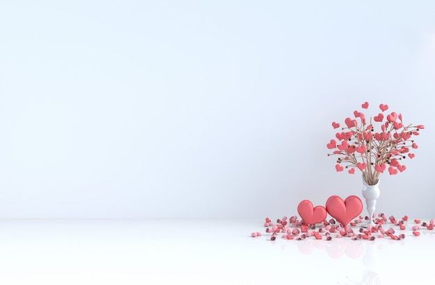 White room of love. with red heart, red rose on valentine's day