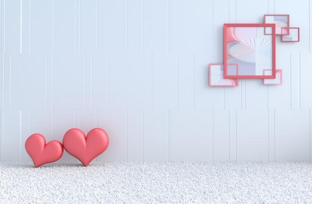 愛の白い部屋。赤いハート、バレンタインの日の額縁。