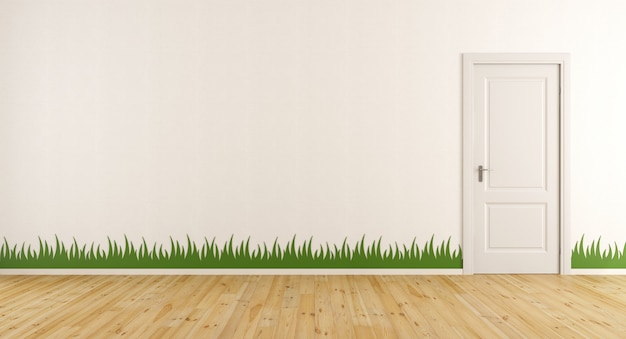 White room with closed doors and sticker grass on wall