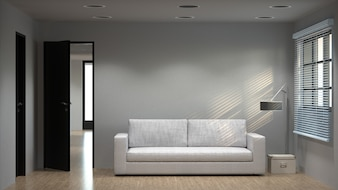 White room with sofa 3D rendering empty white wall background Interior