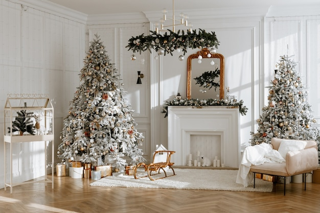 White room with stylish modern christmas and new year interior design