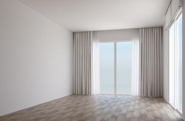 Белая комната с деревянным полом и раздвижными дверями с занавесками