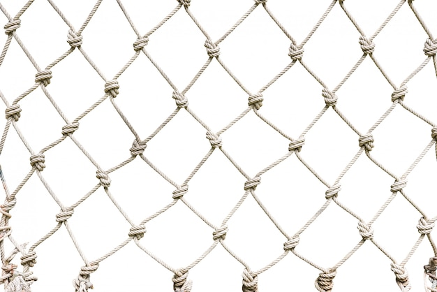 White rope net woven background